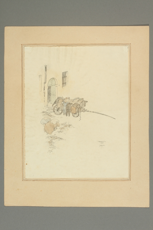 2016.353.2 front Jo Spier drawing of people with a wagon