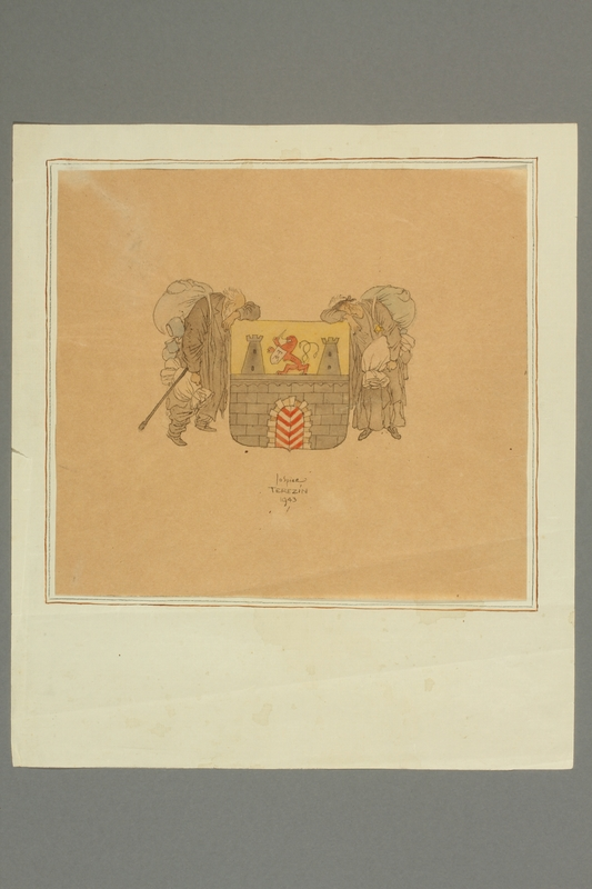 2016.353.3 front Jo Spier drawing of a couple with a Czech coat of arms