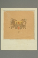 2016.353.3 front Jo Spier drawing of a couple with a Czech coat of arms  Click to enlarge