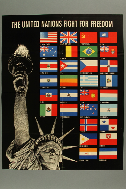 2015.589.2 front US poster depicting the Statue of Liberty and flags of Allied Nations