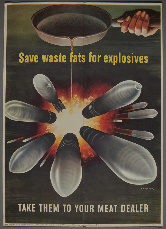2015.591.1 front War conservation poster of cooking fats pouring from a pan