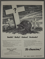 2015.591.2 front War bonds poster with a soldier's helmet by a white cross grave marker  Click to enlarge