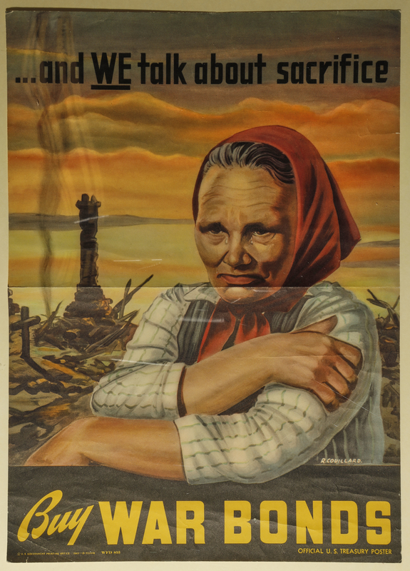 2015.591.5 front War Bonds poster with a Russian woman and a bombed city