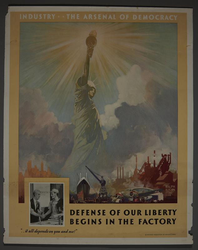 2015.591.6 front Poster of the Statue of Liberty protected by wartime industries