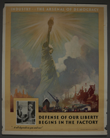 2015.591.6 front Poster of the Statue of Liberty protected by wartime industries  Click to enlarge