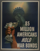 2015.591.8 front US Buy War Bonds poster depicting the Statue of Liberty  Click to enlarge