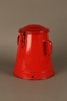 2016.372.2 3/4 view closed Red metal pot  Click to enlarge