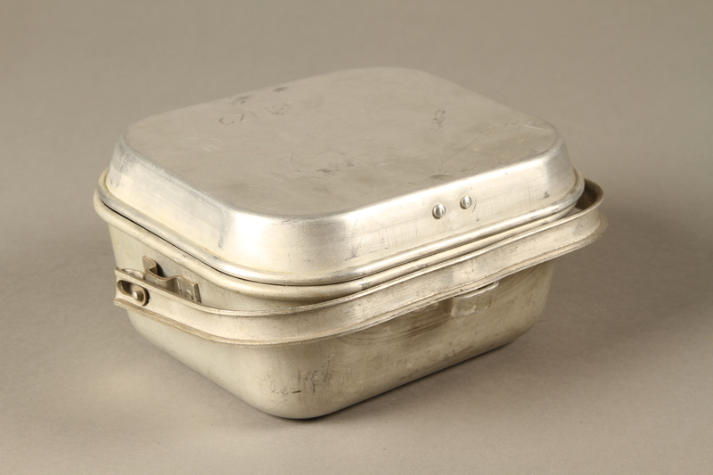 2016.372.6 a-b closed (enscription up) Mess kit metal plate with lid