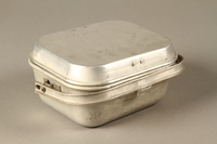 2016.372.6 a-b closed (enscription up) Mess kit metal plate with lid  Click to enlarge