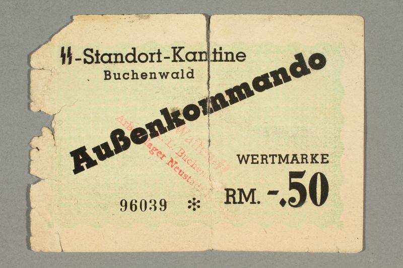 2016.379.1 front Buchenwald Aussenkommando scrip, -.50 Reichsmark issued to an inmate