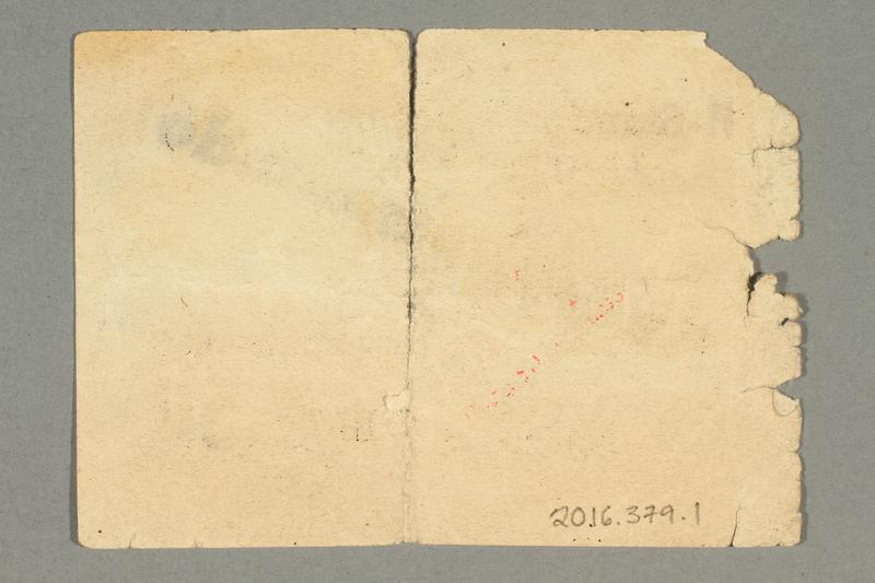 2016.379.1 back Buchenwald Aussenkommando scrip, -.50 Reichsmark issued to an inmate