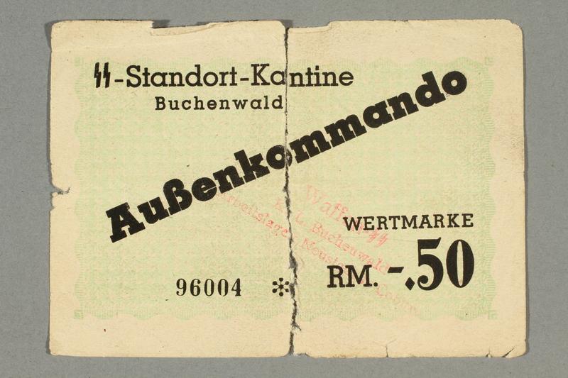 2016.379.2 a-b front Buchenwald Aussenkommando scrip, -.50 Reichsmark issued to an inmate