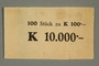 Theresienstadt ghetto-labor camp wrapper for 100 kronen note stack issued to a German Jewish inmate