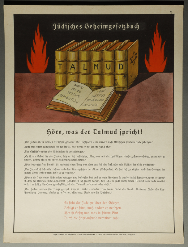 2015.562.11 front Poster of the Talmud on a backdrop of flames