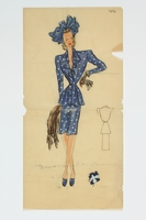 2016.473.14 front Fashion sketch of a woman in a blue dress with white accents  Click to enlarge