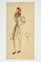 Fashion sketch of a woman in a white dress with multicolored polka dots