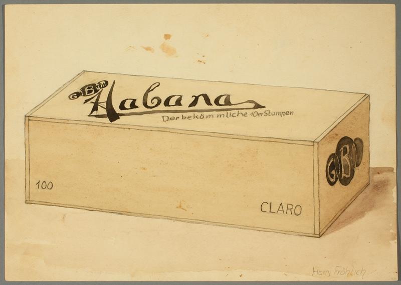 2016.473.9 front Drawing of a cigar box