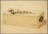 2016.473.9 front Drawing of a cigar box  Click to enlarge