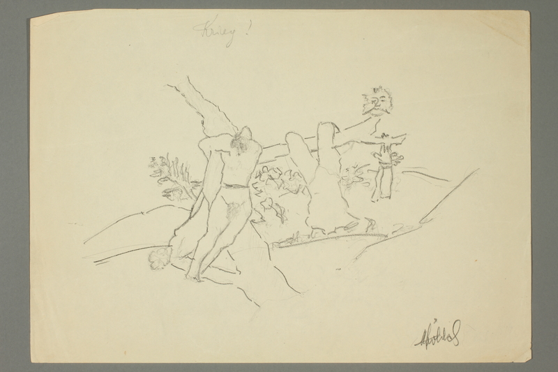 2016.473.24 front Sketch of figures in a landscape with trees
