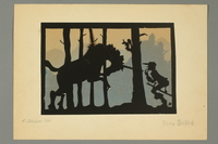 2016.473.19 front Paper silhouette of a man and a unicorn  Click to enlarge