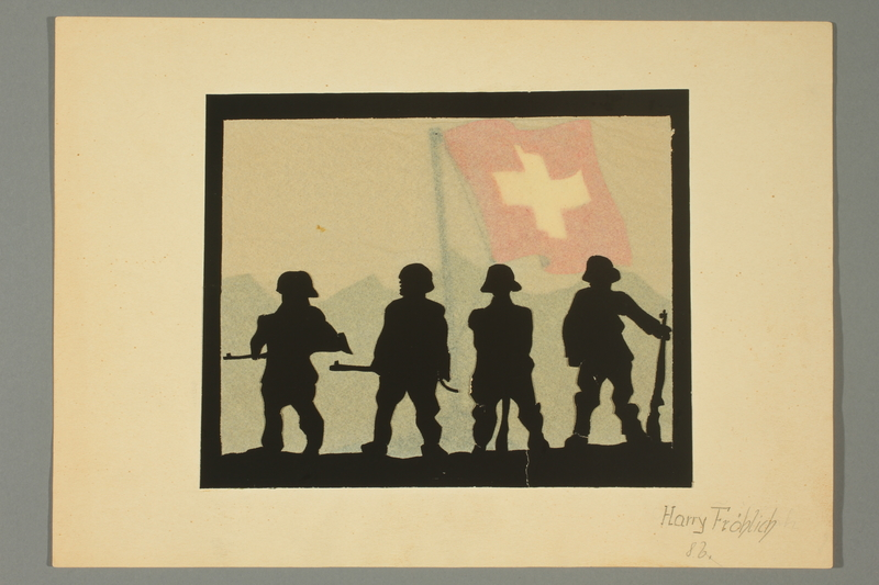 2016.473.21 front Silhouette of four soldiers and the Swiss flag