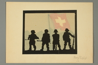 2016.473.21 front Silhouette of four soldiers and the Swiss flag  Click to enlarge