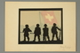 Silhouette of four soldiers and the Swiss flag