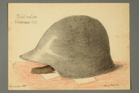 2016.473.22 front Drawing of an army helmet  Click to enlarge