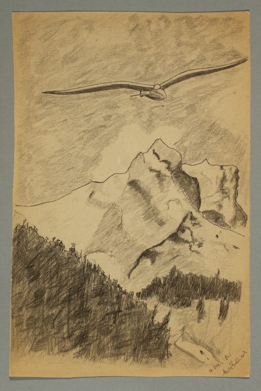 2016.473.23 front Drawing of a mountain landscape