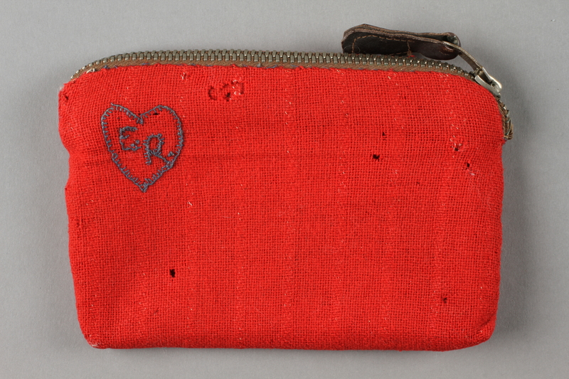 2016.468.3 front Monogrammed red pouch used by an American concentration camp inmate