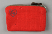 2016.468.3 front Monogrammed red pouch used by an American concentration camp inmate  Click to enlarge