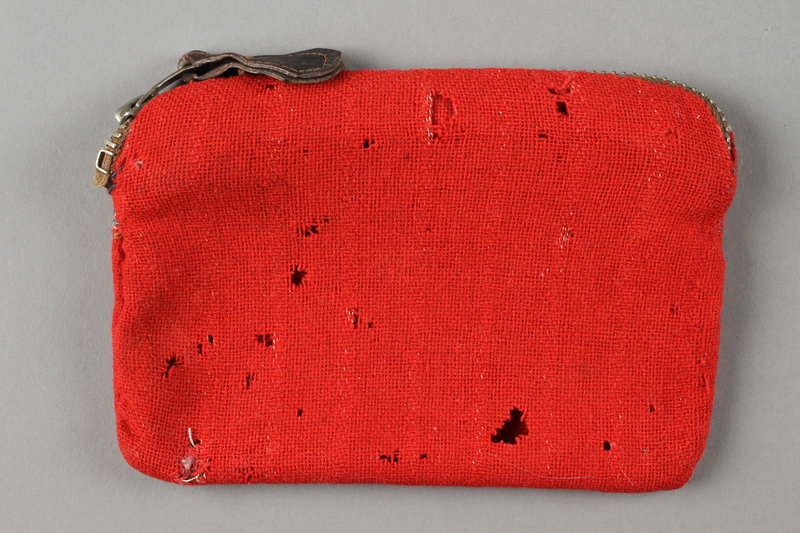 2016.468.3 back Monogrammed red pouch used by an American concentration camp inmate