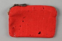 2016.468.3 back Monogrammed red pouch used by an American concentration camp inmate  Click to enlarge