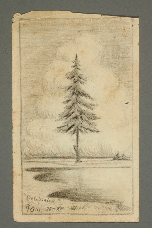 2016.468.5 front Drawing of a tree by an American concentration camp inmate