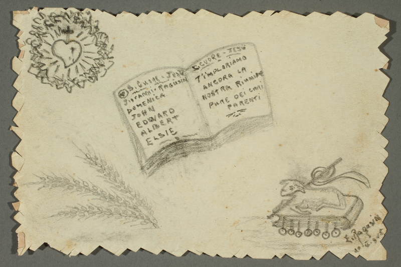 2016.468.7 front Drawing of book, heart with cross, and altar by American concentration camp inmate