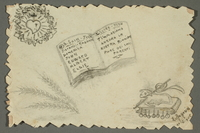2016.468.7 front Drawing of book, heart with cross, and altar by American concentration camp inmate  Click to enlarge