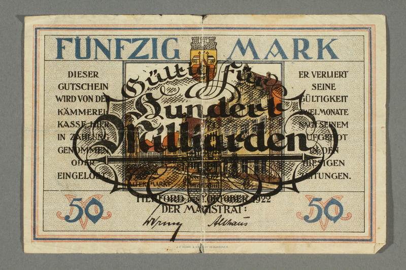 2017.167.2 front Weimar Germany, 50 mark note