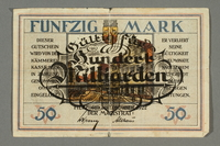 2017.167.2 front Weimar Germany, 50 mark note  Click to enlarge