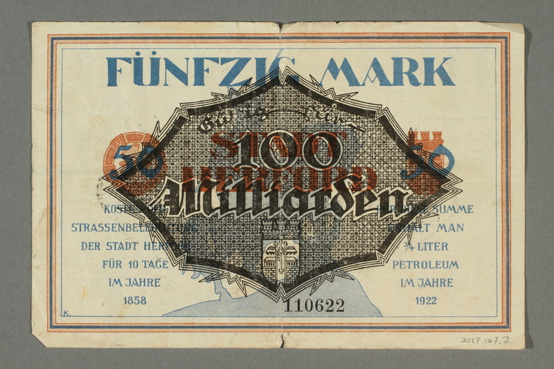 2017.167.2 back Weimar Germany, 50 mark note