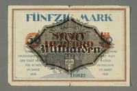 2017.167.2 back Weimar Germany, 50 mark note  Click to enlarge