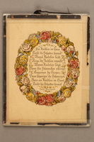 2017.167.3 front Framed German verse with floral border  Click to enlarge