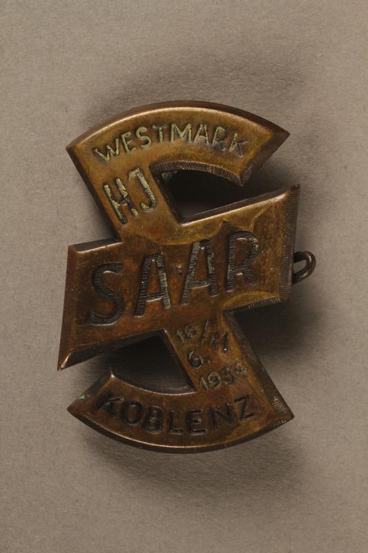 2016.471.4 front Hitler Youth Saar Westmark Koblenz pin
