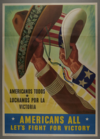 2015.562.17 front Bilingual poster encouraging wartime unity of Mexico and America and all American citizens regardless of nationality  Click to enlarge