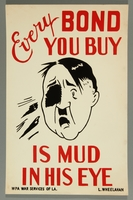 2015.562.21 front US buy war bonds poster of mud thrown in Hitler's face  Click to enlarge