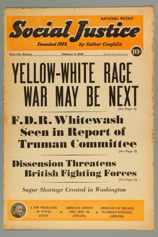 2016.184.233.38 front Social justice, February 2, 1942, Vol. 9, no. 4