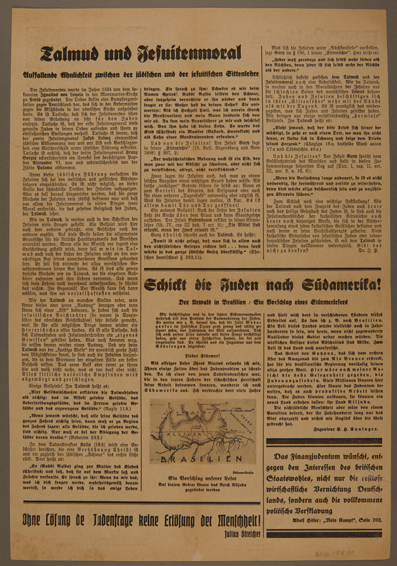 2016.184.859 back Full sheet from Der Sturmer with photos of different Jews