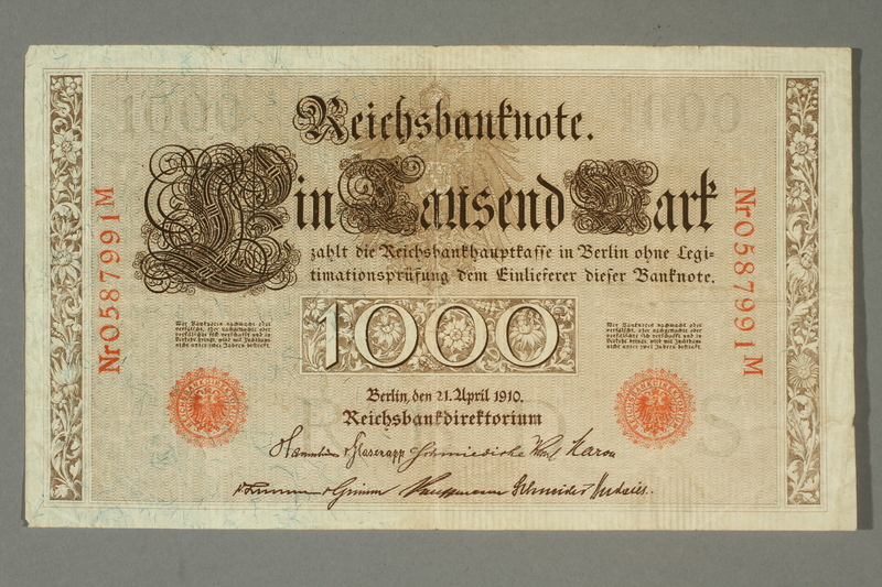 2014.545.4 front Imperial Germany, 1000 Reichsbanknote, brought with a German Jewish refugee