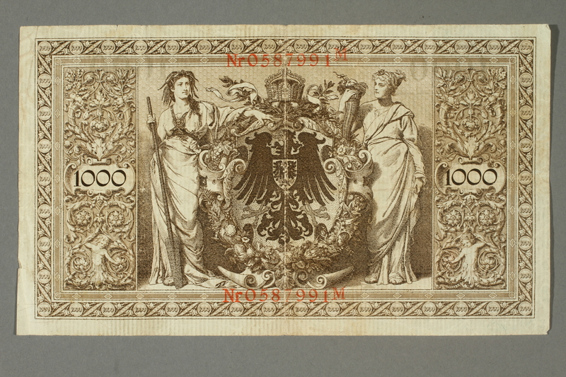 2014.545.4 back Imperial Germany, 1000 Reichsbanknote, brought with a German Jewish refugee