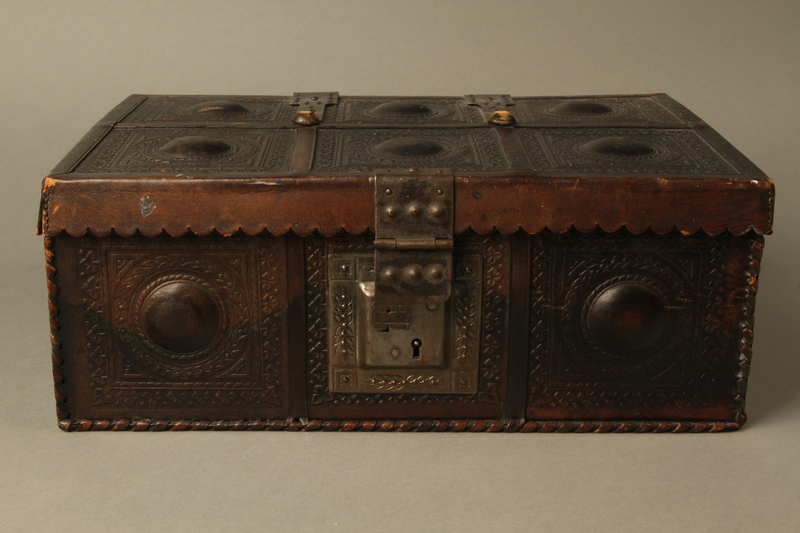 2015.600.2 front Leather and metal box owned by German Jewish refugees