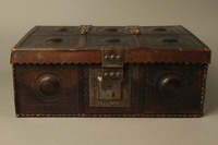 2015.600.2 front Leather and metal box owned by German Jewish refugees  Click to enlarge